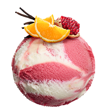 Sorbet Pomegranate-Vanilla<br><small>with orange sauce</small>