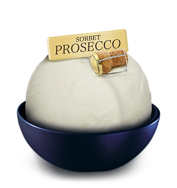 "SORBET <small>with</small> PROSECCO <small>wine</small><br><small class=""smaller"">*Product with alcohol</small>"